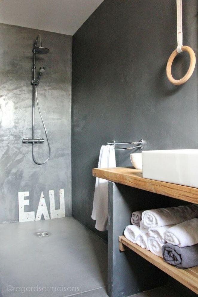 Id e d coration salle de bain salle de bain bois et for Salle de bain bois et beton