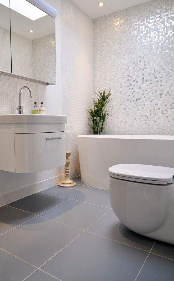 description salle de bains grise carrelage