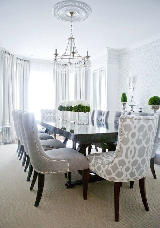 Salle A Manger Lux Decor Elegant Dining Room With Silvery Gray Damask Wallpaper And Dark Hardw