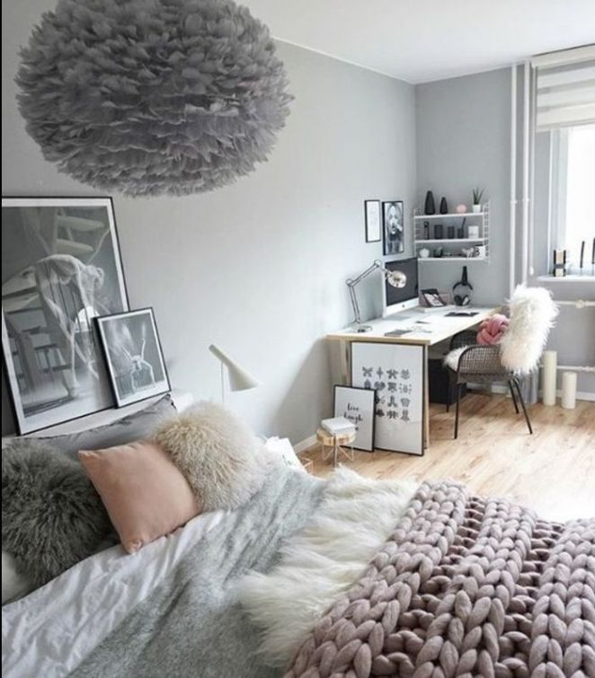 Teen S Bedroom With Feature Grey Wall And Monochrome Bed Linen: Couleur Mur Gris Perle, Linge De Lit Gris