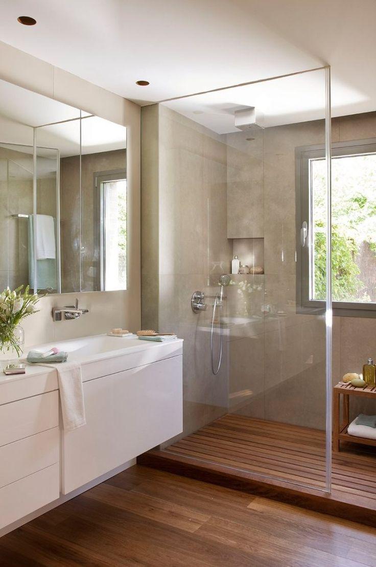 idée décoration salle de bain - parois-douche-verre-sol-bois ... - Sol Bois Salle De Bain