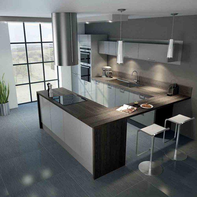 Id e relooking cuisine cuisine city gris hygena marie claire maison - Cuisine blanche sol gris ...