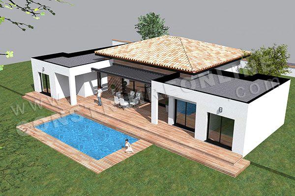 Ide relooking cuisine  plan de maison moderne plain pied TEMPLATE 5  ListSpiritcom