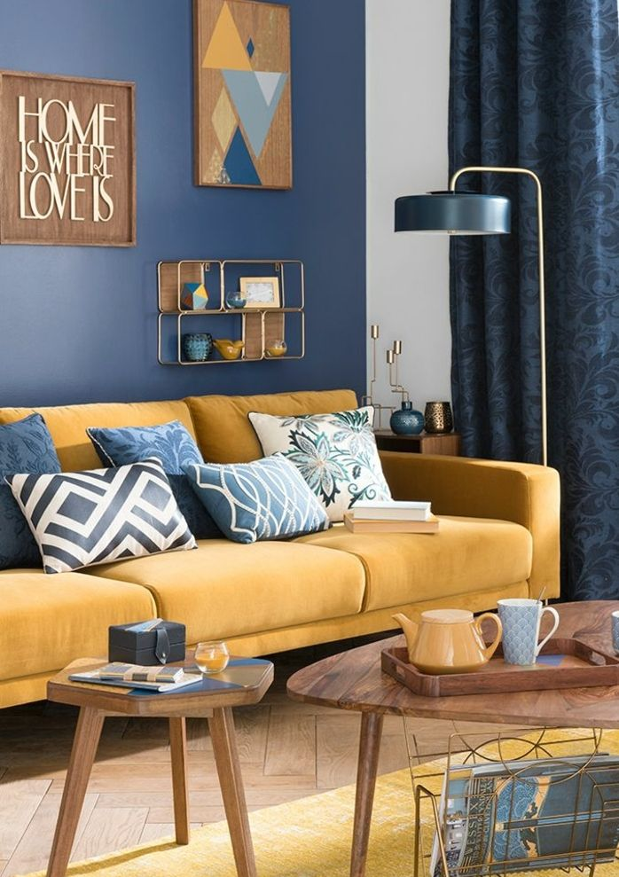 Dco Salon  deco bleu et jaune salon scandinave canap jaune moutarde decoration murale
