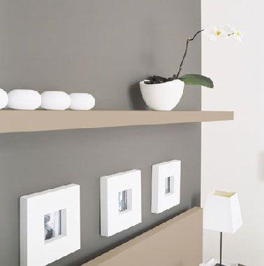 dco salon lassociation dune peinture grise avec une couleur taupe et du blanc o - Idee Deco Salon Taupe Et Blanc