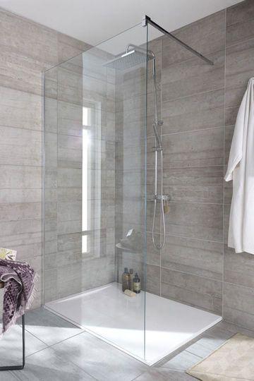 awesome ide dcoration salle de bain u imitation bton pour ce carrelage en grs crame lapeyre with. Black Bedroom Furniture Sets. Home Design Ideas