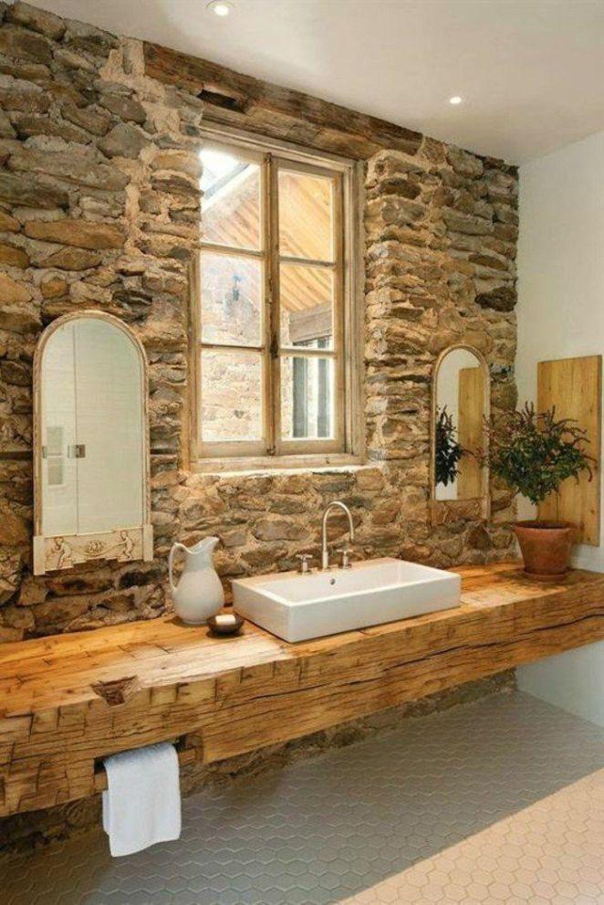 Idée décoration Salle de bain - jolie salle de bain avec mur en ...