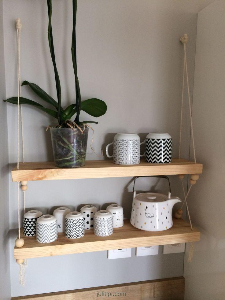 relooking et d coration 2017 2018 diy fabrication d 39 une tag re balan oire en bois corde et. Black Bedroom Furniture Sets. Home Design Ideas