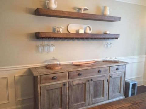 Salle A Manger DIY Floating Shelves With Wine Glass Storage Over Buffet In Dining Room