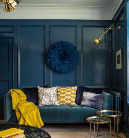 Déco Salon - association-bleu-petrole-jaune-moutarde-aventuredeco ...