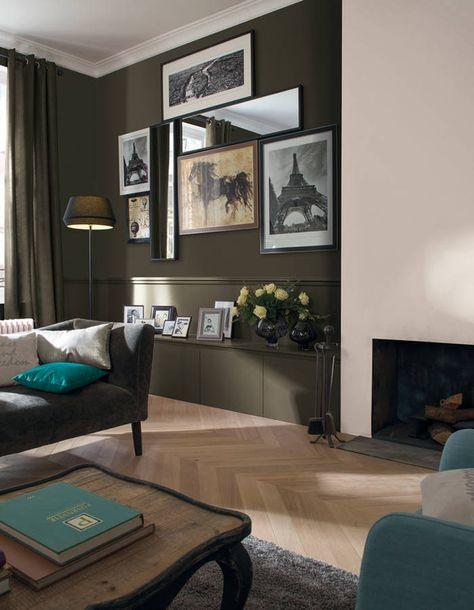 D co salon peindre un mur en deux couleurs dynamisez - Peindre un mur de couleur dans un salon ...
