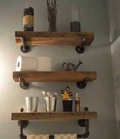 Idée décoration Salle de bain - Meuble WC étagère bois gain de ...