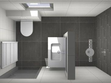 Id e d coration salle de bain une porte de grange rustique coulissante en bois pour cacher la - Idee deco betegelde badkamer ...