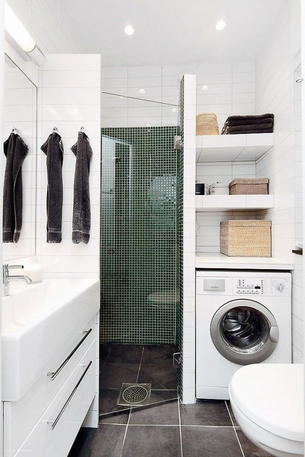 idée décoration salle de bain - lave linge intégré dans une petite ... - Salle De Bain Integree