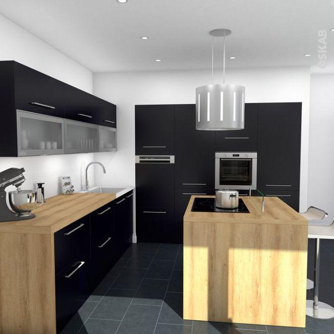 idée relooking cuisine - cuisine noire mat avec ilot central ... - Plan De Travail Pour Ilot Central Cuisine