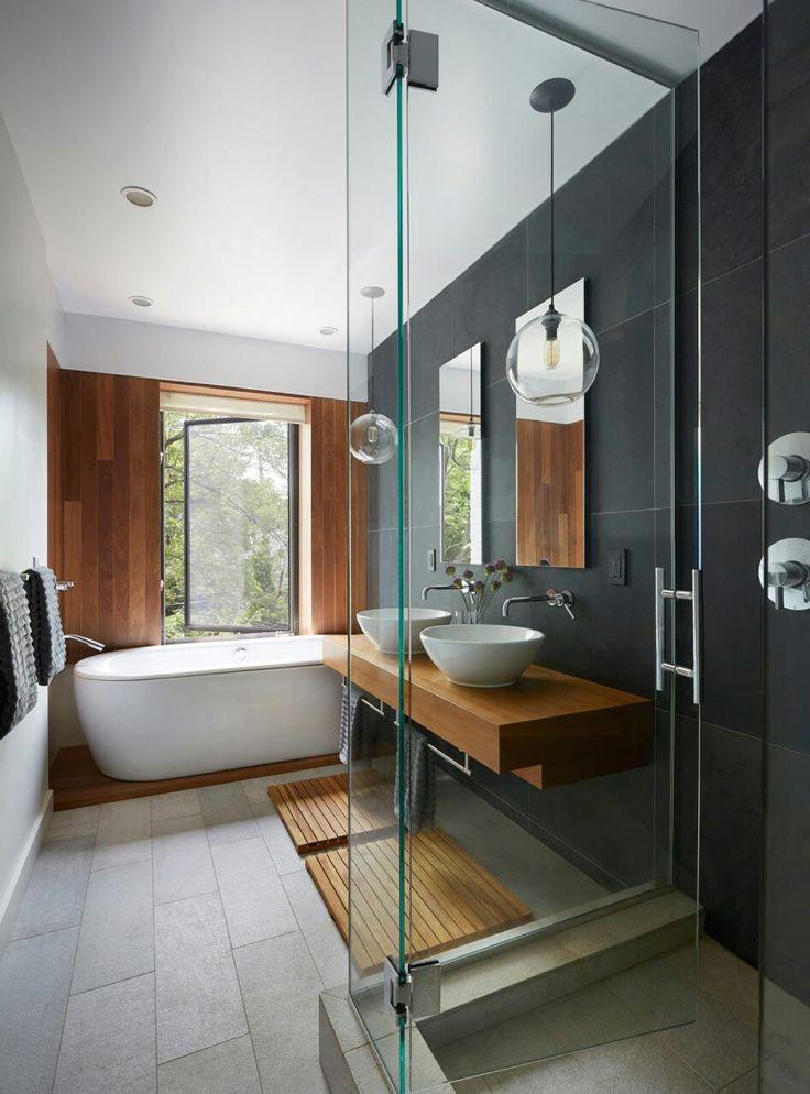 Ide dcoration Salle de bain  Cramique et vanit Ardoise  cerisier  bton  ListSpirit