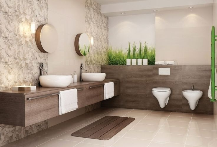 Id e d coration salle de bain salle de bain beige avec for Carrelage salle de bain motif