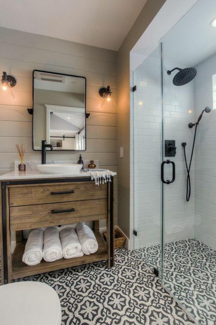 idée décoration salle de bain - salle de bain petite au sol ... - Carrelage Damier Noir Et Blanc Salle De Bain