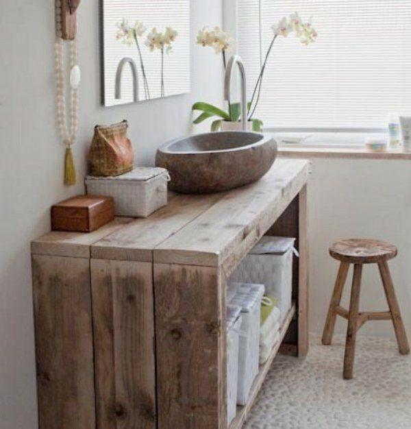Idée Décoration Salle De Bain - Simple Meuble En Bois Pour La