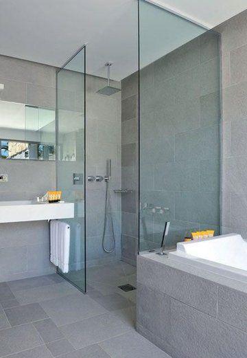 Id e d coration salle de bain unit de ton pour cet for Agencement salle de bain douche italienne