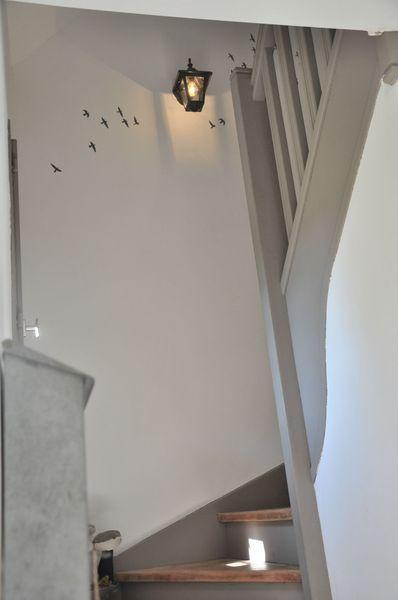 Déco Salon - escalier peint blanc et gris. Source : page blanche n ...