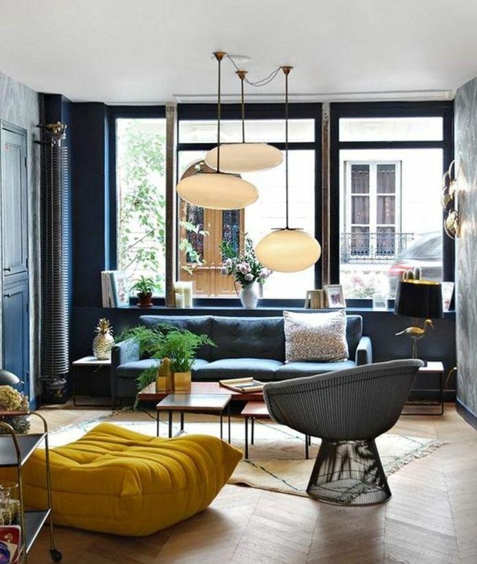 Dco Salon  amenager un salon scandinave canap mur couleur bleu marine parquet clair po