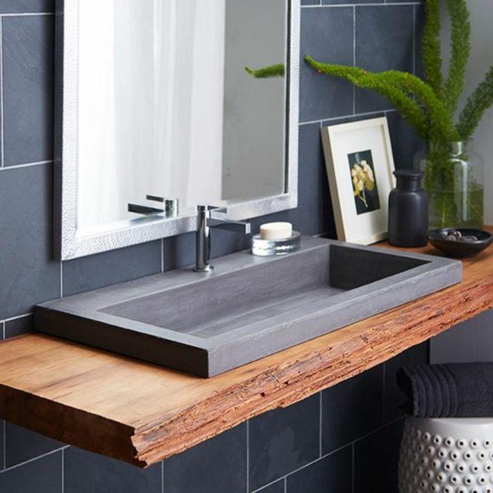 id e d coration salle de bain evier salle de bain comptoir en bois brut et evier granit noir. Black Bedroom Furniture Sets. Home Design Ideas