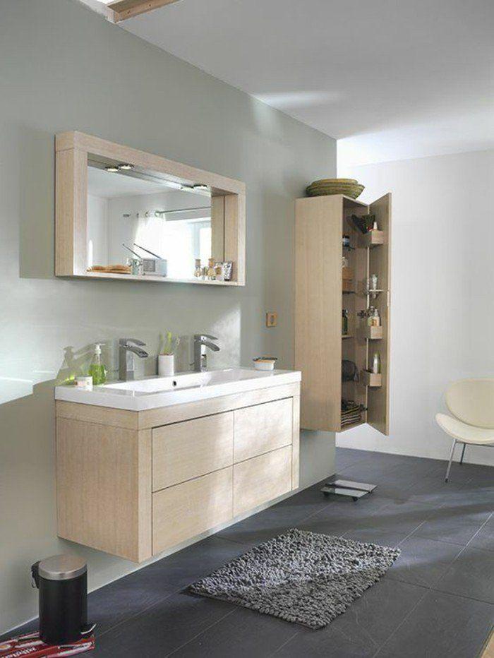 Ide relooking cuisine  salle de bain sol en carrelage gris et meubles salle de bain en bois