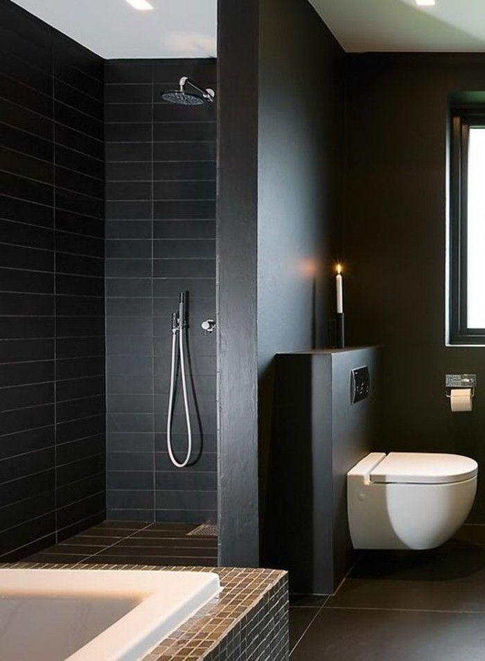 Ide dcoration Salle de bain  faience noire salle de bain murs noirs et baignoire blanche