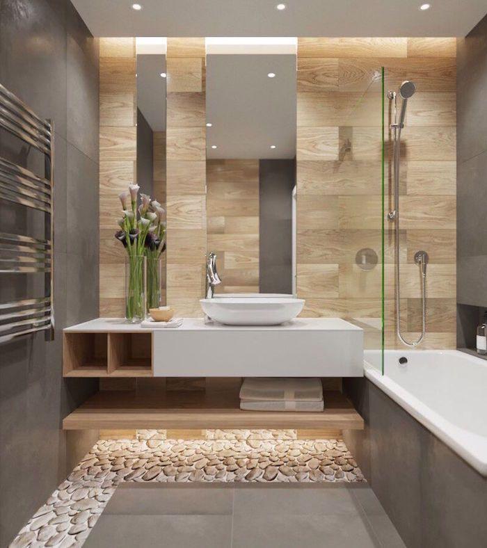 Ide dcoration Salle de bain  salle de bain moderne grise avec carrelage mural carrelage mur