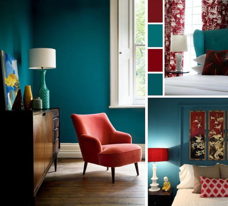 Dco Salon Chambre Bleu Canard Rouge Cardinal Et Blanc