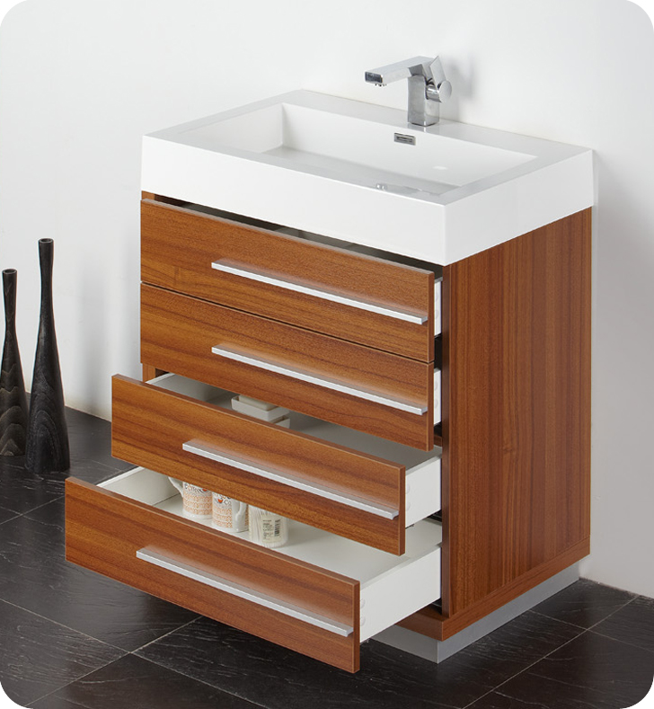 "Fresca Livello 30"" Teak Modern Bathroom Vanity With Faucet"