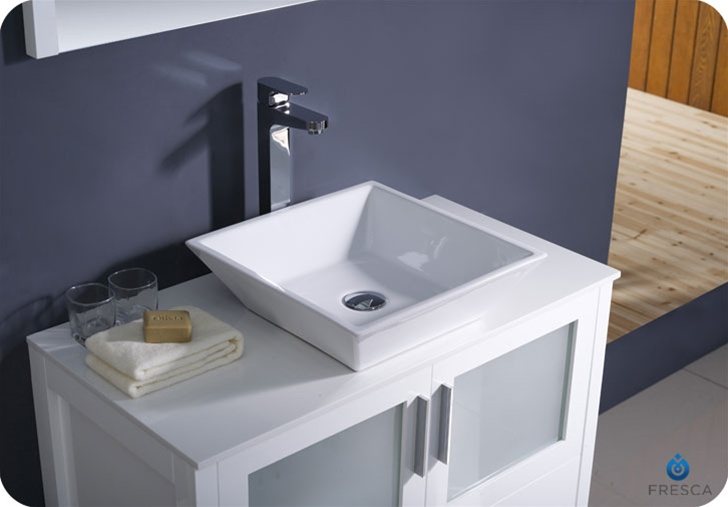 "Fresca Torino 36"" White Modern Bathroom Vanity Vessel Sink"