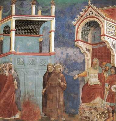 573Px-Giotto - Legend Of St Francis - -11- - St Francis Before The Sultan (Trial By Fire)