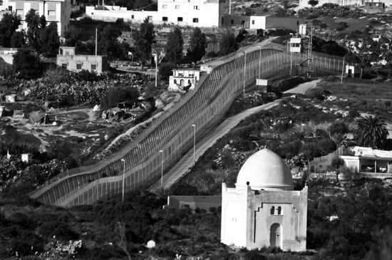 Border Fence Spain Cemetary Melilla 1207 Bw Large