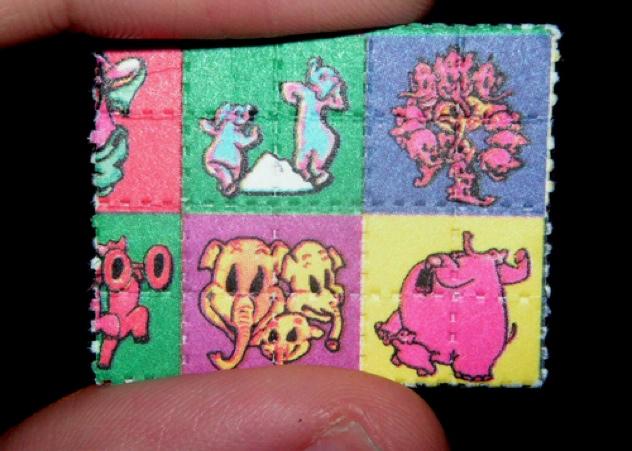 Pink Elephants On Parade Blotter Lsd Dumbo Large