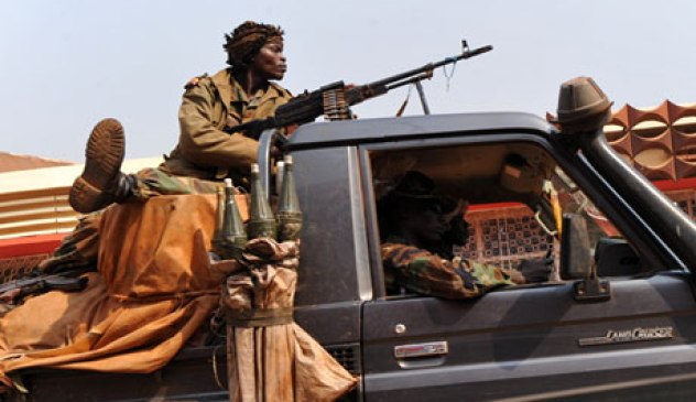 Central African Republic soldiers on patrol