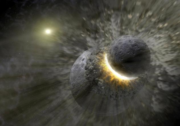 planet colliding