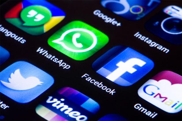 BELGRADE - JUNE 23, 2014 Popular social media icons whatsapp fac