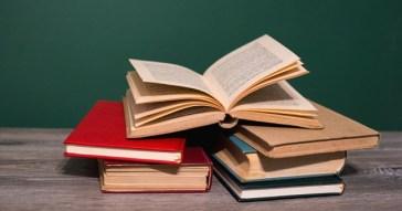 Books On Wooden Desk./ Books On Wooden Desk.