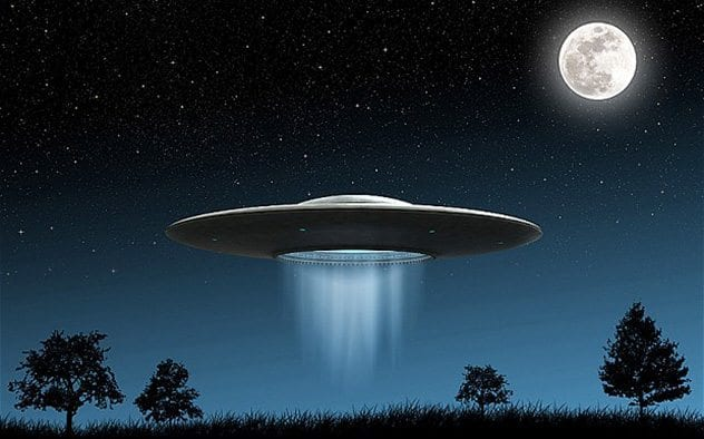 C7N27D 3d render of flying saucers ufo on night background
