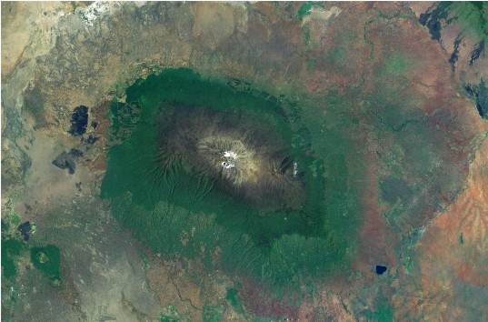Mount Kilimanjaro viewed from space