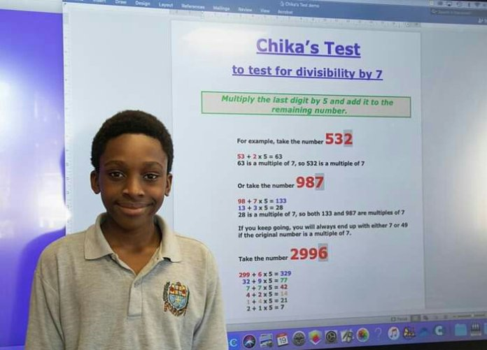12 Year Old Nigerian Boy Awarded for Discovering New Maths Formula