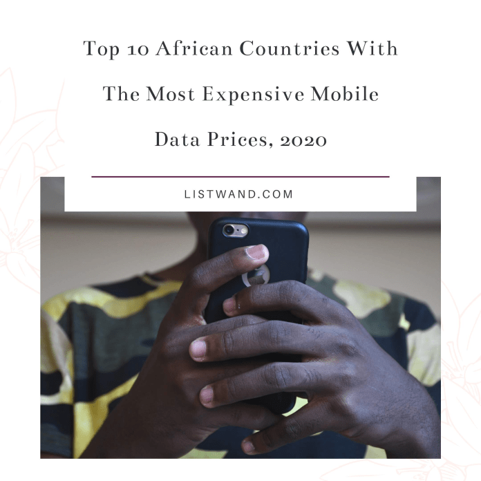 Top 10 African Countries With The Most Expensive Mobile Data, 2020