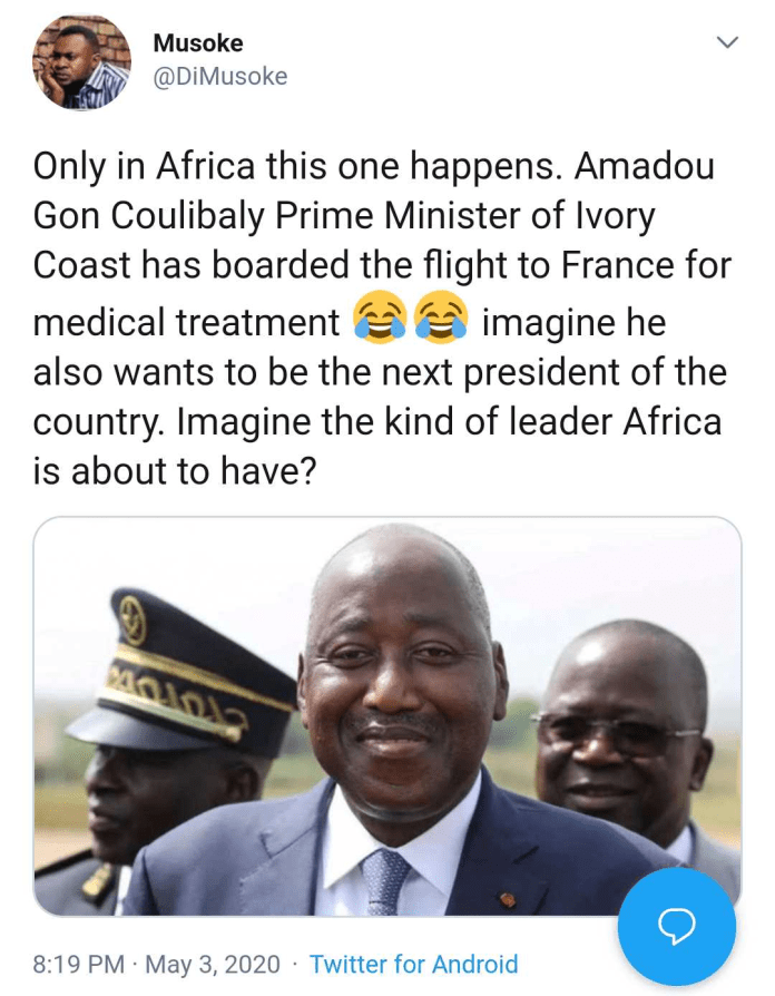 People react as Ivory Coast PM Flies to France for Medical Checks Amid Coronavirus