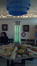 The tardis console she'd recreated, decked out with all kinds of delicious food, among them fish fingers and custard.