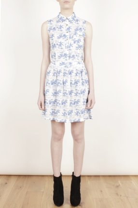 Lavish Alice- Blue & White Tropical Palm Print Cut Out Dress £38