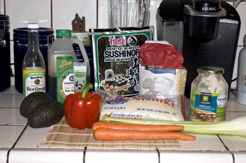 Veggie Sushi Ingredients