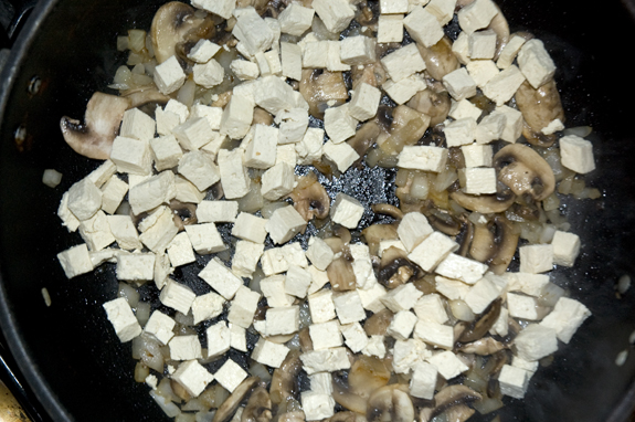 tofu added to pan