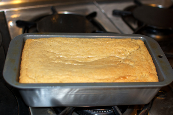 cooked vegan poundcake in pan